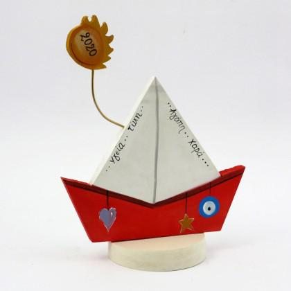Καράβι ζωγραφιστό με βάση για γούρι.
