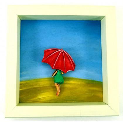 Πίνακας Κυρία & Ομπρέλα στην Εξοχή